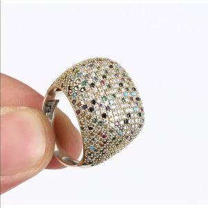 Sultan Ottoman Modern Silver Sapphire Topaz Ring